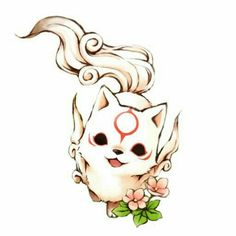 Chibi Okami Amaterasu-Icon by KurotsukiDC on DeviantArt - Chibi Okami Amaterasu-Icon by KurotsukiDC.devia … on - Anime Wolf, Cute Animal Drawings, Kawaii Drawings, Cute Drawings, Wolf Drawings, Amaterasu, Kawaii Chibi, Anime Chibi, Fantasy Creatures