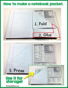 Interactive Notebook Pocket - how to make one in three easy steps! I use this all the time! Whenever I need the kids to make a notebook pocket for their interactive notebook. I project the PDF from my laptop or put a print out under the ELMO. Interactive Student Notebooks, Science Notebooks, Math Notebooks, Biology Interactive Notebook, Vocabulary Notebook, Reading Notebooks, Science Classroom, School Classroom, Pocket Notebook