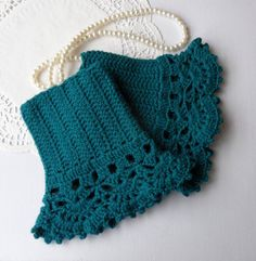 Crochet Wristwarmers with Lace Edging Victorian by CraftsbySigita,