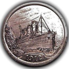 TOM MAHER HOBO NICKEL - TITANIC - 1912 V NICKEL Hobo Nickel, Titanic, Paper Cutting, Toms, Buffalo, Charms, Ships, Money, Star
