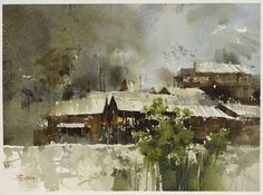 Chien Chung-Wei Plein air in Langde Village part Chung-Wei… Watercolor Landscape Paintings, Watercolor Artists, Watercolor Techniques, Artist Painting, Watercolor And Ink, Watercolour Painting, Watercolours, Urban Landscape, Landscape Art