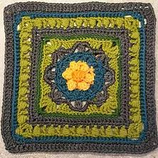 Kalevala CAL - Part 3 - Birth of the World - free crochet square pattern in multiple languages. Free Crochet Square, Crochet Square Patterns, Crochet Squares, Crochet Granny, Crochet Motif, Double Crochet, Crochet Flowers, Granny Squares, Arts And Crafts Projects