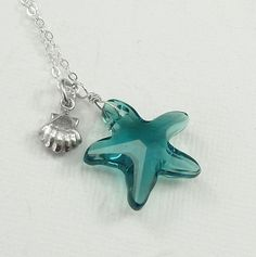 Caribbean Blue Swarovski Star Fish Necklace Sterling by ZionShore
