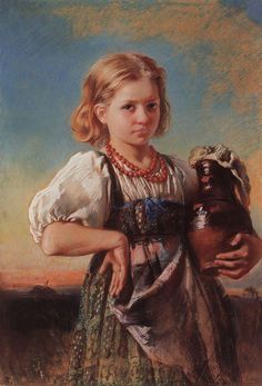 "Konstantin Makovsky art Portrait of a peasant girl "" """
