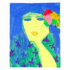 Walasse Ting, Woman with Flowers