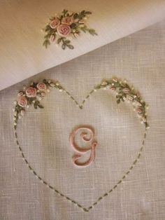 36 New Ideas Embroidery Letters Patterns Beads Embroidery Hearts, Embroidery Letters, Embroidery Flowers Pattern, Hand Embroidery Stitches, Silk Ribbon Embroidery, Hand Embroidery Designs, Beaded Embroidery, Cross Stitch Embroidery, Machine Embroidery