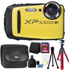 Fujifilm FinePix XP90 16MP Waterproof Wi-Fi Digital Camera + 64GB Bundle Yellow  #Fujifilm
