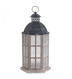 WOODEN_METAL LANTERN W_LED IN BROWN COLOR 20_5X18X39