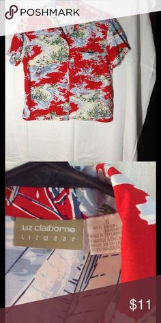 4eb300a7 1980's Vintage Liz Claiborne Crop Top Liz Claiborne Lizwear, button down  short sleeve cropped shirt