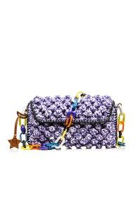 LILAC RAFFIA SHOULDER BAG