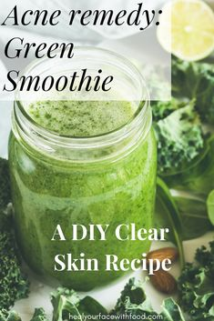 Hate taking medication for acne that makes it even worse? Find out how this DIY Clear skin smoothie recipe is the acne remedy you wish you've known sooner! Health Clear Skin Health Remedies Health Tips Health For women Health Natural Health Tips Foods For Clear Skin, Clear Skin Diet, Apple Smoothies, Good Smoothies, Detox Juice Recipes, Smoothie Recipes, Water Recipes, Detox Drinks, Drink Recipes