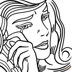 crying girl by roy lichtenstein coloring page from roy lichtenstein category select from 25994 printable crafts of cartoons nature animals