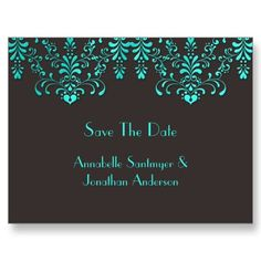 Brown With Teal Floral Swirls Save The Date