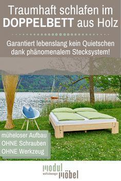 Hasst du quietschende Betten auch so sehr wie wir? Unser geniales Holzbett kann kinderleicht ohne Schrauben und ohne Werkzeug aufgebaut werden und ist dabei ein lebenlang 100% stabil und geräuschfrei! In diesem Doppelbett aus dem Holz von Zirbe, Fichte, Kiefer oder Eiche massiv schläfst du traumhaft! Gleich konfigurieren und passendes Kopfteil für den individuellen Einrichtungsstil in deinem Schlafzimmer aussuchen! Versand direkt vom Tischlermeister aus Österreich! #mmw #holzbett #doppelbett Outdoor Sofa, Outdoor Furniture, Outdoor Decor, Old Town Square, Short Break, Summer Evening, Sun Lounger, Tourism, Restoration