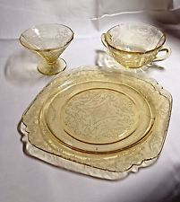 Vintage Federal Glass Company Madrid Amber Pattern Depression Glass- ebay: