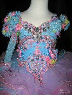 2013 New Arrival Luxurious Little Girls Pageant Cupcake Dresses Handmade Flowers Glitz Dresses GD07