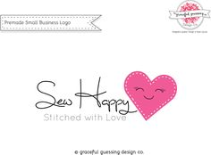 Branding Kit - Sewing Logo - Etsy Shop - Affordable Logo Design - Small Business Logo Design - Heart Logo - Stitch Logo - Etsy Logo Design by gracefulguessing on Etsy