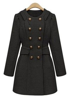 Black Buttond Double Breasted Wool Coat | See more about Wool Coats, Wool and Coats.