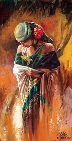 Girl In Green Painting by Alim Adilov Green Paintings, Indian Art Paintings, Beautiful Paintings, Portrait Art, African Art, Female Art, Art Pictures, Watercolor Art, Art Drawings