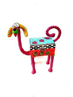 dog box sculpture    animal Collectibles  whimsical  by MIRAKRIS, $64.00