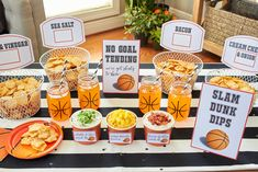 Free printables  -Basketball Madness Watch Party Ideas | Easy Snacks for your basketball party | FREE PRINTABLES | DIY basketball ideas | Basketball net serving bowls & basketball mason jars | As seen on AmysPartyIdeas.com | RITZ Crisp & Thins