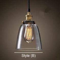 Cord: Black Fabric - Aprox 1 mètre (Il peut être raccourcir - réglable) Shade Dia: 15 cm à 28cm (dépend de votre choix). Shade Color: Clear Glass (Non Ambre). 1=Style A: 18cm;  2=Style B: 15cm;  3=Style C: 20cm;  4=Style D: 25cm. Celing Rose: