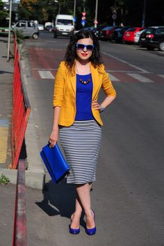 Mustard, cobalt, and stripes combo
