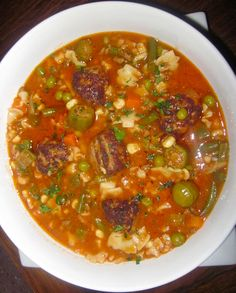 Hearty Vegetable Beef Soup with Meatballs and Parmesan Rinds.