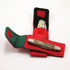 "Red ""Whittler"" Pocket for 3 to 3.75  in. Folding Knife  TO BUY: Comment with your email address and you'll receive a secure checkout link.  Options:  Lining Color: Black: $25.00  Lining Color: Green: $25.00  Fits Case 08 Pattern ""Half Whittler"" and similar folding knives.  4  by 1   in  6   in long open (made by hand; dimensions approximate). All-cotton canvas outer and soft flannel lining; hook-and-loop closure in coordinating colors. It will keep your knife collection safe from scratches…"