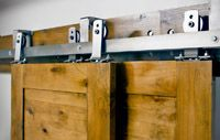 Bypass Barn Door Hardware System  allow for up to 3 doors to slide in front of and in back of each other to conserve space  $785