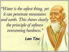 Water is the softest thing, yet it can penetrate mountains and earth. This shows clearly the privilege of softness overcoming hardness. Lao Tzu