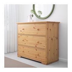 HURDAL 3-drawer chest, light brown 42 7/8x36 5/8