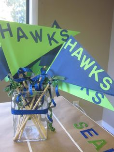 Seahawks Flags......for the Super Bowl party ;-)......have both teams and people choose as they arrive! This is a definite for sure! Seattle Seahawks, Seahawks Football, Super Bowl Activities, Seahawks Super Bowl, Football Themes, Football Banquet, Football Stuff, Super Bowl Rings, Birthday Party Themes