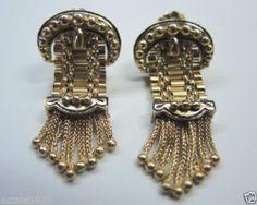 Antique Enamel Buckle Tassel Earrings 14K Vintage Estate Art Deco Bridal Pierced