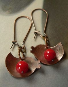 Red coral copper earrings birds dangle
