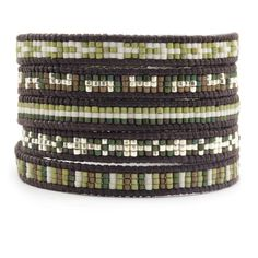 Chan Luu - Green Mix Beaded Wrap Bracelet on  Natural Dark Brown Leather, $195.00 (http://www.chanluu.com/wrap-bracelets/green-mix-beaded-wrap-bracelet-on-natural-dark-brown-leather/)