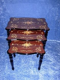 Inspired Inlaid Wood 3 Piece Nesting Table Set