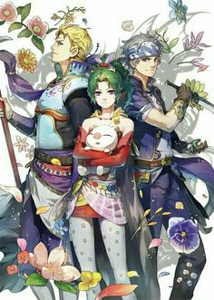 My favorite protagonists terra and locke, with king edgar of figaro