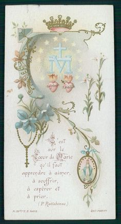 Antique HOLY CARD Vintage Sacred heart rosary flower crown Our Lady T F Paris