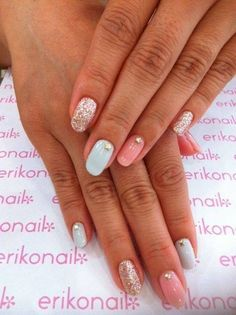 Pastal Pink and Pink with Gold Glitter and Jewels Nail Art Design