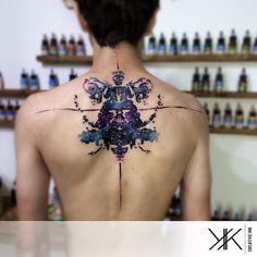 Tattoo Artist: Koray Karagözler - Antalya, Turkey www.tatteo.com #darthvader #watercolor #nebula #cosmos #kk_creative_ink #koraykaragözler #koraykaragozler #backtattoo