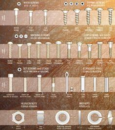 Bolt Identification Guide - First Call Auto Supply Screws And Bolts, Wood Screws, Garage Tools, Garage Workshop, Tool Organization, Tool Storage, Woodworking Crafts, Woodworking Plans, Prego