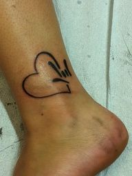 Asl I love you heart tattoo. If i ever got another tattoo it would be ASL something