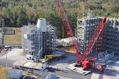 Test version of the launch vehicle stage adapter (LVSA) loaded in test stand at NASA Marshall