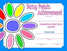 daisy promise craft | Girl Scout Daisy Petal Certificate