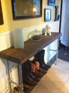 Reclaimed barnwood hickory table wood side, entry way loft sofa foyer console table. Modern industrial pipe legs. I'm all about this!! My current hall bench is a recycled 1956 gunnery crate. :)
