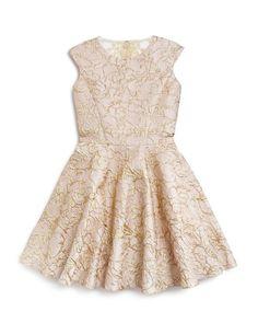 David Charles Girls' Metallic Damask Dress - Sizes 7-16