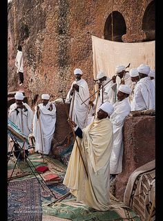 Mass at Bet Maryam church in Lalibela, Ethiopia