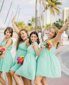 Bridesmaid Dresses For Beach Wedding - Wedding and Bridal Inspiration Beach Wedding Bridesmaids, Beach Bridesmaid Dresses, Wedding Venues Beach, Beach Wedding Reception, Beach Wedding Flowers, Modest Wedding Dresses, Beach Dresses, Wedding Picture Poses, Groom Dress