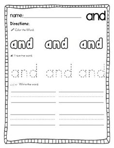 100 Sight Word Practice Sheets!  Color, trace, & write!$